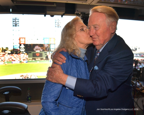 Vin gets a kiss from wife Sandi--Vin Scully calls his last game--Los Angeles Dodgers at San Francisco Sunday, October 2, 2016 at AT&T Park. Photo by Jon SooHoo/©Los Angeles Dodgers,LLC 2016
