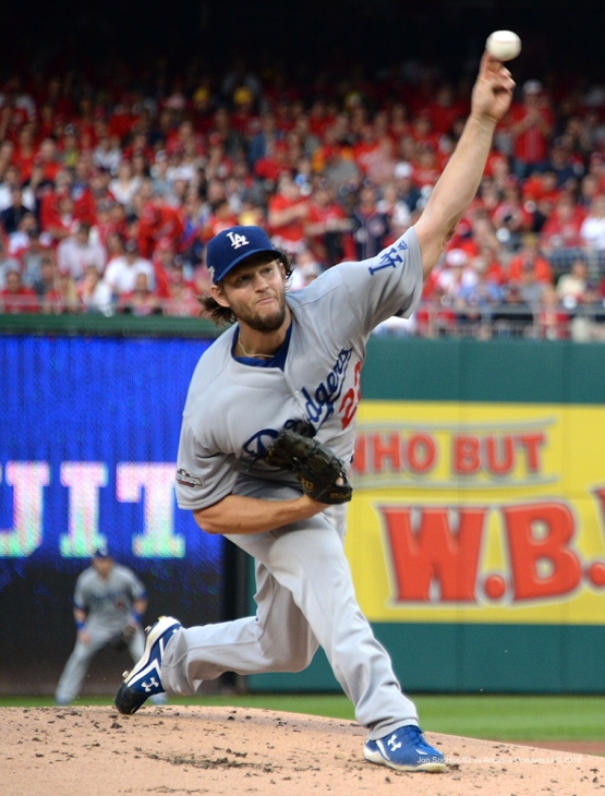 2016 NLDS Game One---Clayton Kershaw--Los Angeles Dodgers vs Washington Nationals  Friday, October 7, 2016 at Nationals Park in Washington,DC.  Photo by Jon SooHoo/©Los Angeles Dodgers,LLC 2016