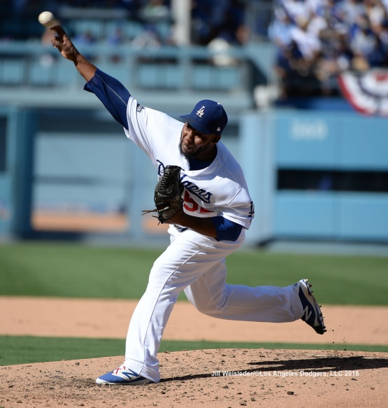 Pedro Baez comes in to pitch. Jill Weisleder/Dodgers