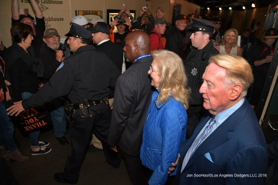 Vin and Sandy leave AT&T Park--Vin Scully calls his last game--Los Angeles Dodgers at San Francisco Sunday, October 2, 2016 at AT&T Park. Photo by Jon SooHoo/©Los Angeles Dodgers,LLC 2016