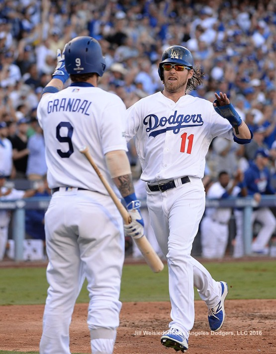 2016 NLDS Game 4---Josh Reddick scores-Los Angeles Dodgers vs Washington Nationals Tuesday, October 11, 2016 at Dodger Stadium in Los Angeles, California. Photo by Jill Weisleder/© Los Angeles Dodgers, LLC 2016