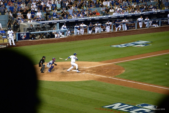 2016 NLCS Game 5---Adrian Gonzalez knocks in a run-Chicago Cubs vs Los Angeles Dodgers Thursday, October 20, 2016 at Dodger Stadium in Los Angeles, California. Photo by Jon SooHoo/© Los Angeles Dodgers, LLC 2016