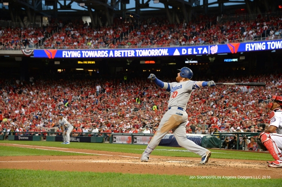 2016 NLDS Game One---Justin Turner homers--Los Angeles Dodgers vs Washington Nationals  Friday, October 7, 2016 at Nationals Park in Washington,DC.  Photo by Jon SooHoo/©Los Angeles Dodgers,LLC 2016