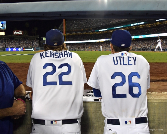 2016 NLCS Game 5---Clayton Kershaw and Chase Utley-Chicago Cubs vs Los Angeles Dodgers Thursday, October 20, 2016 at Dodger Stadium in Los Angeles, California. Photo by Jon SooHoo/© Los Angeles Dodgers, LLC 2016