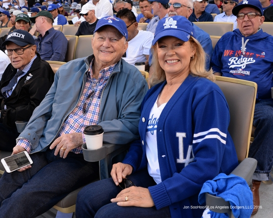 2016 NLDS Game 4---Burt Sugarman and Mary Hart-Los Angeles Dodgers vs Washington Nationals Tuesday, October 11, 2016 at Dodger Stadium in Los Angeles, California. Photo by Jon SooHoo/© Los Angeles Dodgers, LLC 2016