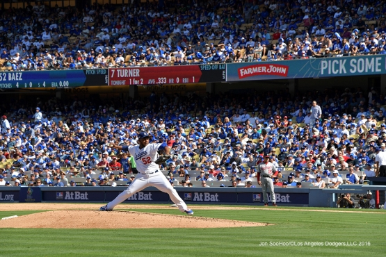 2016 NLDS Game 3---Pedro Baez--Los Angeles Dodgers vs Washington Nationals Monday, October 10, 2016 at Dodger Stadium in Los Angeles, California. Photo by Jon SooHoo/© Los Angeles Dodgers, LLC 2016