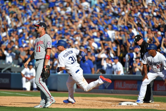 2016 NLDS Game 4---Joc Pederson doubles-Los Angeles Dodgers vs Washington Nationals Tuesday, October 11, 2016 at Dodger Stadium in Los Angeles, California. Photo by Jon SooHoo/© Los Angeles Dodgers, LLC 2016