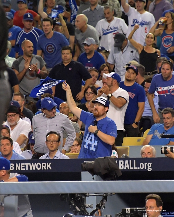 2016 NLCS Game 5---Great Dodger fan-Chicago Cubs vs Los Angeles Dodgers Thursday, October 20, 2016 at Dodger Stadium in Los Angeles, California. Photo by Jon SooHoo/© Los Angeles Dodgers, LLC 2016