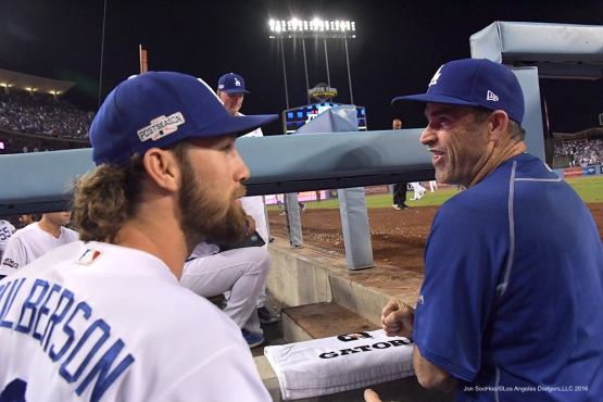 2016 NLCS Game 5---Charlie Culberson and Turner Ward-Chicago Cubs vs Los Angeles Dodgers Thursday, October 20, 2016 at Dodger Stadium in Los Angeles, California. Photo by Jon SooHoo/© Los Angeles Dodgers, LLC 2016