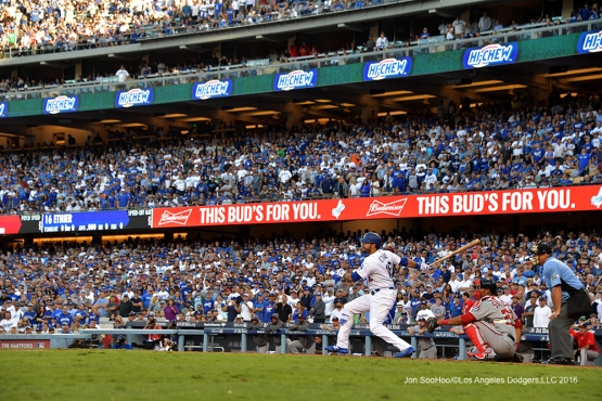 2016 NLDS Game 4---Andre Ethier singles--Los Angeles Dodgers vs Washington Nationals Tuesday, October 11, 2016 at Dodger Stadium in Los Angeles, California. Photo by Jon SooHoo/© Los Angeles Dodgers, LLC 2016