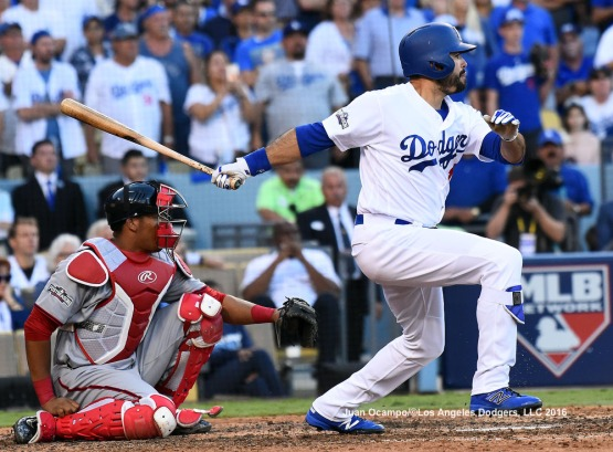 Andre Ethier singles to left-center field in the eighth inning.