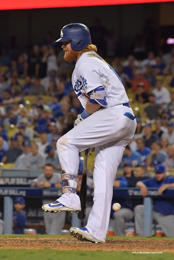 2016 NLCS Game 5---Justin Turner hit by pitch-Chicago Cubs vs Los Angeles Dodgers Thursday, October 20, 2016 at Dodger Stadium in Los Angeles, California. Photo by Jon SooHoo/© Los Angeles Dodgers, LLC 2016