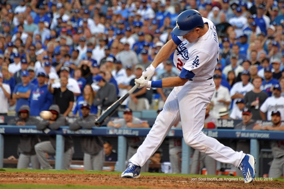 2016 NLDS Game 4---Chase Utley's go ahead single--Los Angeles Dodgers vs Washington Nationals Tuesday, October 11, 2016 at Dodger Stadium in Los Angeles, California. Photo by Jon SooHoo/© Los Angeles Dodgers, LLC 2016