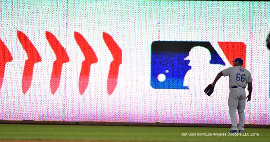 2016 NLDS Game One---Yasiel Puig enters the game in right field--Los Angeles Dodgers vs Washington Nationals  Friday, October 7, 2016 at Nationals Park in Washington,DC.  Photo by Jon SooHoo/©Los Angeles Dodgers,LLC 2016