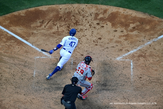 2016 NLDS Game 3---Howie Kendrick-Los Angeles Dodgers vs Washington Nationals Monday, October 10, 2016 at Dodger Stadium in Los Angeles, California. Photo by Jon SooHoo/© Los Angeles Dodgers, LLC 2016