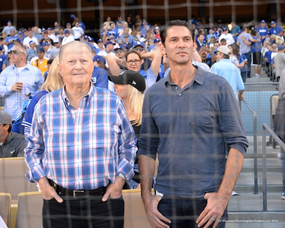 2016 NLCS Game 5---Burt Sugarman and Shawn Green-Chicago Cubs vs Los Angeles Dodgers Thursday, October 20, 2016 at Dodger Stadium in Los Angeles, California. Photo by Jill Weisleder/© Los Angeles Dodgers, LLC 2016
