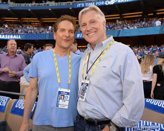 2016 NLCS Game 5---Peter Guber and Mark Walter-Chicago Cubs vs Los Angeles Dodgers Thursday, October 20, 2016 at Dodger Stadium in Los Angeles, California. Photo by Jill Weisleder/© Los Angeles Dodgers, LLC 2016
