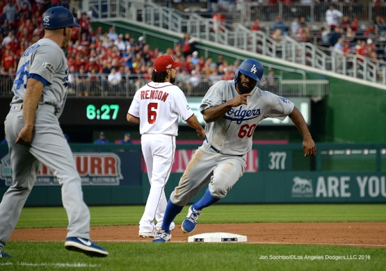2016 NLDS Game One---Andrew Toles scores--Los Angeles Dodgers vs Washington Nationals  Friday, October 7, 2016 at Nationals Park in Washington,DC.  Photo by Jon SooHoo/©Los Angeles Dodgers,LLC 2016