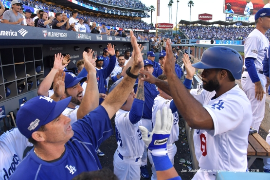 2016 NLDS Game 4--Andrew Toles scores-Los Angeles Dodgers vs Washington Nationals Tuesday, October 11, 2016 at Dodger Stadium in Los Angeles, California. Photo by Jon SooHoo/© Los Angeles Dodgers, LLC 2016