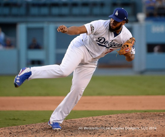 2016 NLDS Game 4---Kenley Jansen-Los Angeles Dodgers vs Washington Nationals Tuesday, October 11, 2016 at Dodger Stadium in Los Angeles, California. Photo by Jill Weisleder/© Los Angeles Dodgers, LLC 2016
