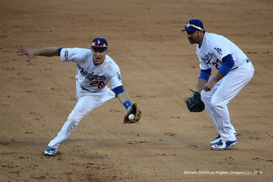10/11/16 Los Angeles, CA: NLDS-Game Four- Chase Utley ends the game--Los Angeles Dodgers and the Washington Nationals played at Dodger Stadium. The Dodgers defeated the Nationals 6-5