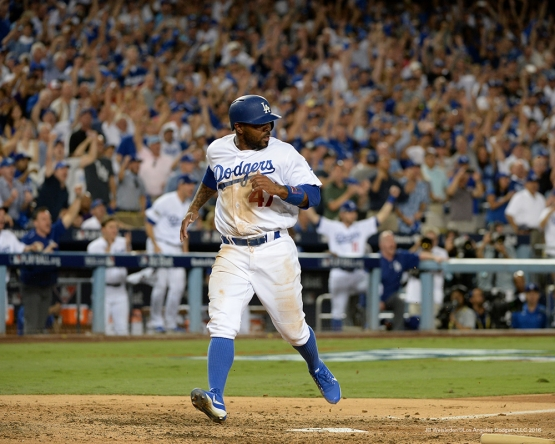 2016 NLCS Game 5---Howie Kendrick scores-Chicago Cubs vs Los Angeles Dodgers Thursday, October 20, 2016 at Dodger Stadium in Los Angeles, California. Photo by Jill Weisleder/© Los Angeles Dodgers, LLC 2016