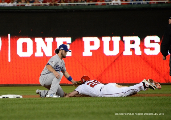 2016 NLDS Game One---Charlie Culberson tags out the runner--Los Angeles Dodgers vs Washington Nationals  Friday, October 7, 2016 at Nationals Park in Washington,DC.  Photo by Jon SooHoo/©Los Angeles Dodgers,LLC 2016