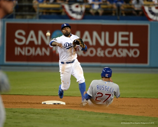 2016 NLCS Game 5---Howie Kendrick-Chicago Cubs vs Los Angeles Dodgers Thursday, October 20, 2016 at Dodger Stadium in Los Angeles, California. Photo by Jill Weisleder/© Los Angeles Dodgers, LLC 2016