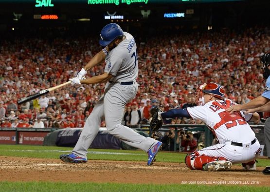 2016 NLDS Game One---Kenley Jansen takes a swing--Los Angeles Dodgers vs Washington Nationals  Friday, October 7, 2016 at Nationals Park in Washington,DC.  Photo by Jon SooHoo/©Los Angeles Dodgers,LLC 2016