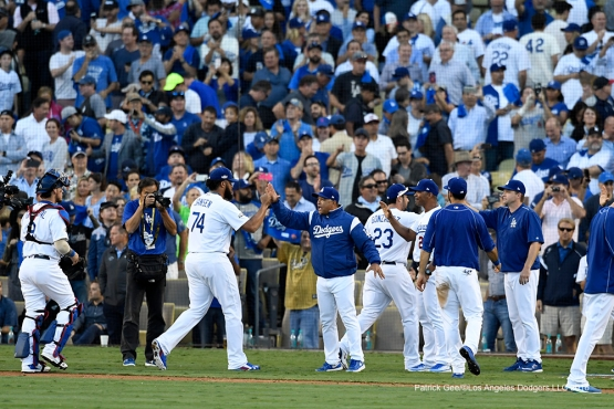 2016 NLDS Game 4---Los Angeles Dodgers win game four 6-5 against the Washington Nationals Tuesday, October 11, 2016 at Dodger Stadium in Los Angeles, California. Photo by Patrick Gee/© Los Angeles Dodgers, LLC 2016